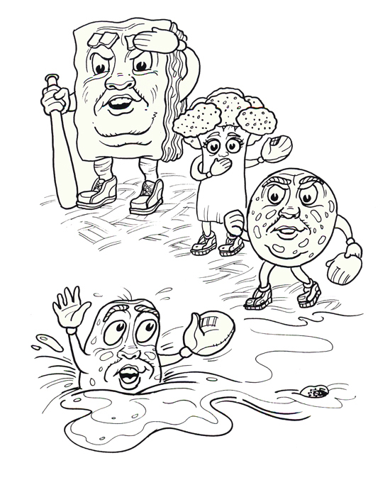 children's coloring book page of Peter Pepperoni Barbara Broccoli Lasagna Lou and Sausage Al