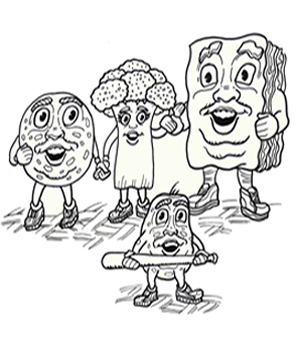 Children's book characters Peter Pepperoni Sausage Al Barbara Broccoli and Lasagna Lou having fun